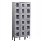"Salsbury See-Through Metal Locker S-66368 - Six Tier 3 Wide 12""W x 18""D x 12""H Gray Assembled"