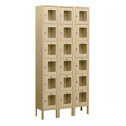 "Salsbury See-Through Metal Locker S-66368 - Six Tier 3 Wide 12""W x 18""D x 12""H Tan Assembled"