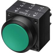 Siemens 3SB3000-0DA41 Pushbutton, Maintained, Green, Flush Cap, Operator, Round-Plastic