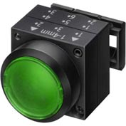 Siemens 3SB3001-0DA41 Pushbutton, Green, Flush Cap, Single Operator, Round-Plastic, Illuminated