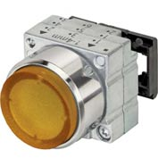 Siemens 3SB3501-0BA01 Pushbutton, Momentary, Amber, Extended Cap, Single Operator, Round Metal