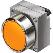 Siemens 3SB3501-0DA01 Pushbutton, Maintained, Amber, Flush Cap, Single Operator, Round Metal