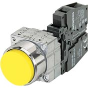 Siemens 3SB3601-0BA31 Pushbutton, Momentary, Yellow, Extended Cap, Complete Unit, Round-Metal