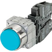 Siemens 3SB3601-0BA51 Pushbutton, Momentary, Blue, Extended Cap, Complete Unit, Round-Metal