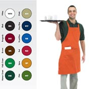 "Full Length Bib Apron, 30X34, 8"" X 8"" Side Pocket, Black"