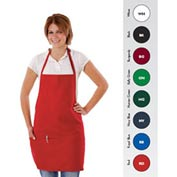 Bib Apron, 28X27, Three Pockets, Adjustable Neckband, White