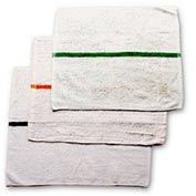 Striped Bar Towel, 16X19, White W/Green Stripe - Pack of 12