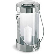 Blomus® 65023 Lantern w/ Candle, Stainless Steel, Indoor/Outdoor