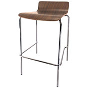 Storlie Caf&233; Height Bar Stool with Low Back Laminate Walnut Chime Series