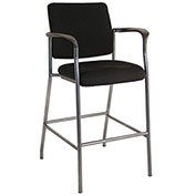 Storlie Caf&233; Height Bar Stool Fabric Black Sleek Series