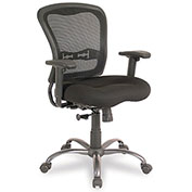 Storlie Executive Mesh Chair with Synchro Tilt - Black Fabric - Mid Back - Cool Mesh Series