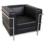 Storlie Modern Club Chair - Black LeatherTek Upholstery with Chrome Frame - Concerto Series