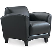 Storlie Reception Lobby Club Chair - Black LeatherTek Upholstery - Manhattan Series