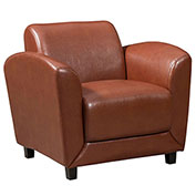 Storlie Reception Lobby Club Chair - Coffee Brown LeatherTek Upholstery - Manhattan Series