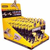 Stanley 95-883M 95-883m, 9 Metric & 9 Fractional Folding Hex Key Set Merchandiser - Pkg Qty 10