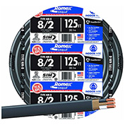 Southwire 28893602 Romex Cable with Ground, White, 8/2 Awg, 125 ft