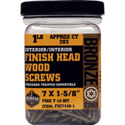 "#7 Bronze Star FSC7158-5 Finish Head Star Drive Screws 1-5/8""L, 5lb. Carton - Made In USA"