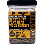 "Screw Products HDB2-1 - #10 Bronze Star Heavy Duty Star Drive Screws 2""L, 1lb. Container - USA"