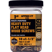 "#10 Gold Star HDY112-1 Heavy Duty Star Drive Wood Screws, 1-1/2""L, 1lb. Carton - Made In USA"