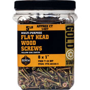 "Screw Products YTX-08100-5 - #8 Gold Star Star Drive Wood Screws, 1""L, 5lb. Carton - Made In USA"