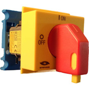 Springer Controls/MERZ A104-016-PR2,16A,3-Pole, Disconnect Switch, Red/Yellow, Din-Mount, Lockout