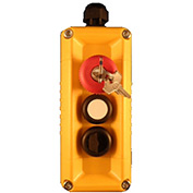 T.E.R., F71GY10020000002 VICTOR Wall Mount Control Station, Yellow, 3 Hole, Key Stop + 2 Function