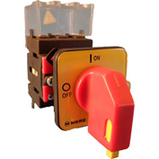 Springer Controls/MERZ ML1-025-CR2, 25A,3-Pole, Disconnect Switch, Red/Yellow, Center-Mount, Lockout
