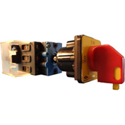 Springer Controls/MERZ ML1-025-DR2,25A,3-Pole,Disconnect Switch,Red/Yel,Din-Mount,Coupling,Lockout