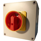 Springer Controls / MERZ ML1-040-AR3E, 40A, 3-Pole, Enclosed Disconnect Switch, Red/Yellow