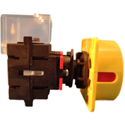 Springer Controls/MERZ ML1-040-CR3, 40A, 3-Pole, Disconnect Switch, Red/Yellow,Center-Mount,Lockable