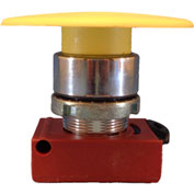 Springer Controls N5CEM6RN01, Mushroom Head-Momentary Push-Button Red, w/Contact-Shown in Yellow