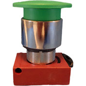 Springer Controls N5CET4RN101, Mushroom Head-Push-Button with Latch Red, w/Contact-Shown in Green