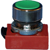Springer Controls N5CPNLG10, Flush-Momentary Push-Button Blue, w/ Contact-Shown in Green