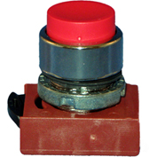 Springer Controls N5CPNNS10, Extended-Momentary Push-Button Black, w/ Contact-Shown in Red