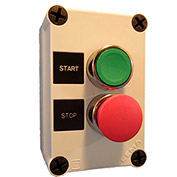 Springer Controls N5PEC202, Start-Stop PB Station, Green Flush, Red Extended - Momentary - Chrome