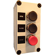 Springer Controls N5PEC302, Open-Close-Stop push-button Station - Momentary - Chrome