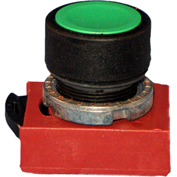 Springer Controls N5XPNRG01, Standard-Momentary Push-Button Red, w/ Contact-Shown in Green