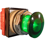 Springer Controls N7ELSVR20-240, 30mm Illuminated Mushroom-Head, Momentary, 240V, 2 N.O. - Green