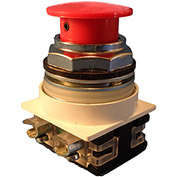 Springer Controls N7ET3R01, 30 mm Mushroom-Head, 1 Normally Closed, Push-Pull Maintained, Red