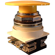 Springer Controls N7ET6G10, 30 mm Mushroom-Head, 1 Normally Open, Push-Pull Maintained, Yellow