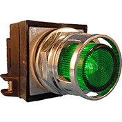Springer Controls N7PLMVT00-480, 30mm Illum. Push-Button, Guarded, Momentary, 480V,No Contacts,Green