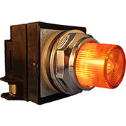 Springer Controls N7PLSAD01-120, 30mm Illum. Push-Button, Extended, Momentary, 120V, 1 N.C., Amber