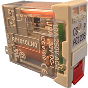 RelayGo RF1010LH0, Multi-Voltage Interface Relay w/LED, 10A Switch, 24-250V AC/DC, SPDT, 5-Blade