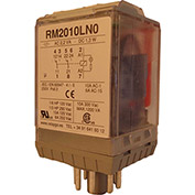RelayGo RM2010LH0, Multi-Voltage Industrial Relay w/LED, 10A Switch, 12-250V AC/DC, DPDT, 8-Pin