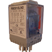 RelayGo RM3010LH0, Multi-Voltage Industrial Relay w/LED, 10A Switch, 12-250V AC/DC, 3PDT, 11-Pin