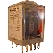 RelayGo RM4010LH0, Multi-Voltage Industrial Relay w/LED, 10A Switch, 12-250V AC/DC, 4PDT, 14-Blade