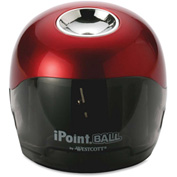 "Acme United Battery Pencil Sharpener, 3""x3""x3-1/2"", Red/Black"