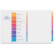 """Avery Ready Index T.O.C. Divider, 1 to 8, 11""""x17"""", 8 Tabs, White/Multicolor"""
