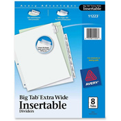 "Avery WorkSaver Extra Wide Big Tab Divider, Blank, 9""x11"", 8 Tabs, White/Clear"