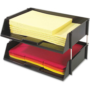 "Deflect-o Heavy-Duty 2 Tier Side Loading Letter Tray - 3.5""H x 16.5""W x 11.8""D - Black"